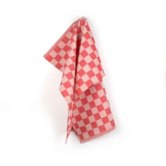 Bunzlau Castle  Tea Towel Check Red 3820