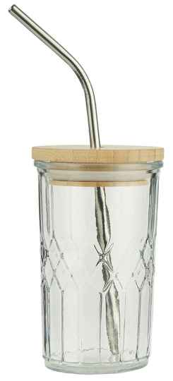 Ib-Laursen  Glass w/bamboo lid and stainless steel straw   0668-00