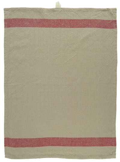 Ib Laursen Tea towel taupe with red stripe  66002-33
