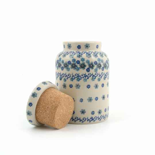 Bunzlau Castle  Storage Jar with Cork Lid Winter Garden   2430-2084