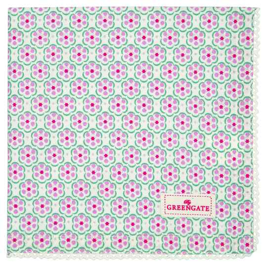 GreenGate Cloth Napkin with Lace Leah Pale Pink