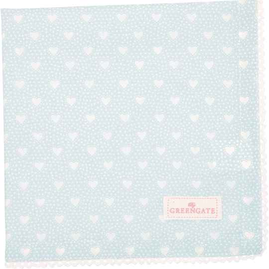 GreenGate Cloth Napkin with Lace Penny Pale Blue   COTNAPWLPNY2908