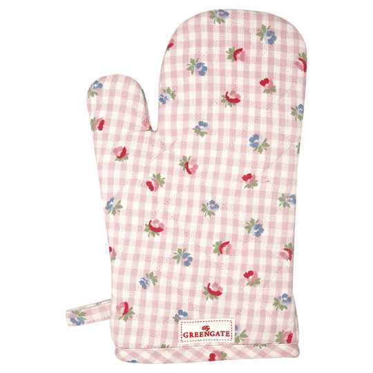 GreenGate  Grill glove Viola check pale pink   COTGRIVCH1904