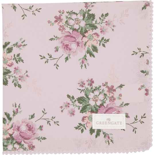 GreenGate Cloth Napkin with Lace Marie Dusty Rose   COTNAPWLMAR1108