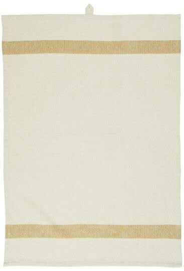 IB-Laursen Tea towel natural w/mustard stripes in each end  66003-03