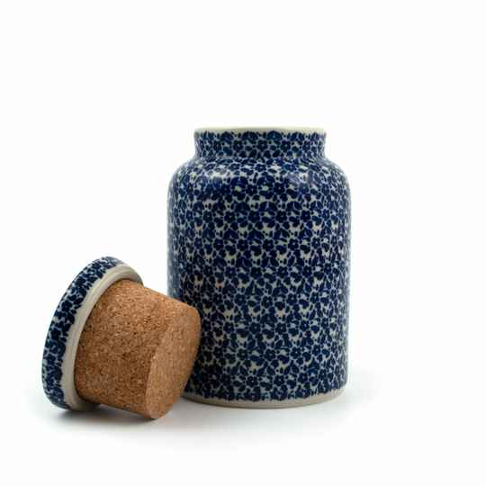 Bunzlau Castle  Storage Jar with Cork Lid Indigo   2430-2396