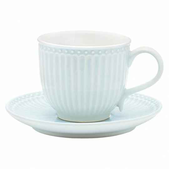 GreenGate Stoneware Cup with Saucer Alice Pale Blue