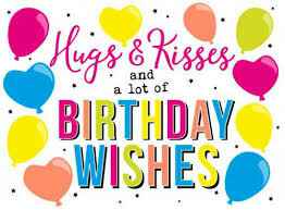 Hugs & kisses and a lot of birthday wishes - wenskaart
