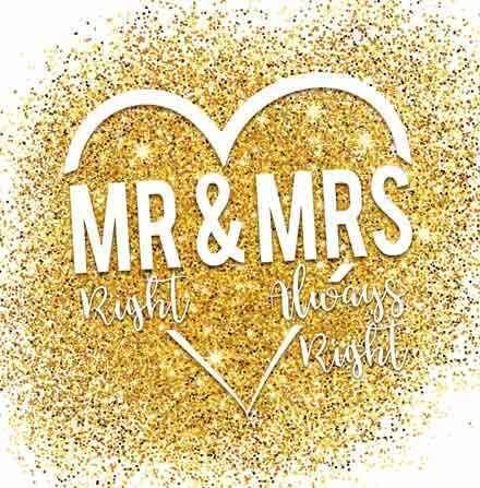 Mr right & mrs always right  - wenskaart