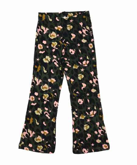 Kids flared pants bloem/panter groen