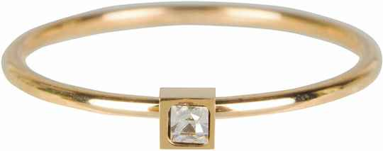 Stylish square crystal ring