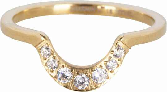 Half moon crystal gold ring