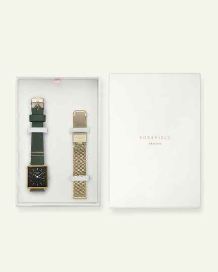 Rosefield The Boxy Black Forest Green Gold + Extra Strap BFGMG-X237