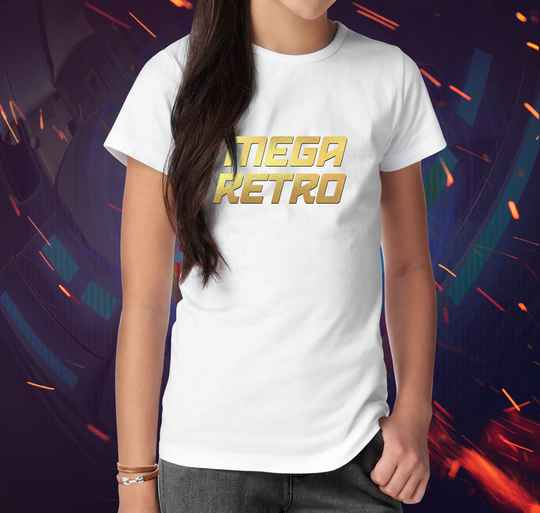 T-shirt Mega Retro Gold White (V)