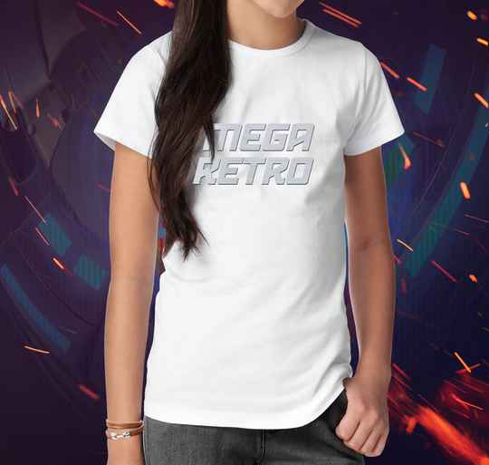 T-shirt Mega Retro White Flex Silver (V)