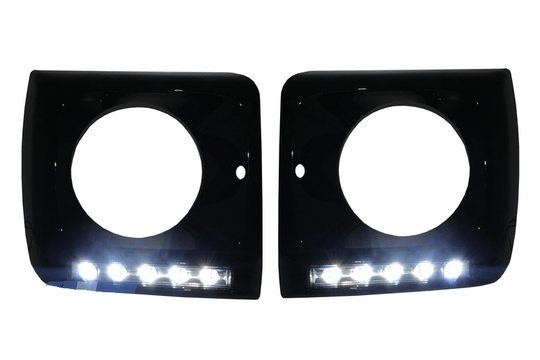 Black Headlight Covers with LED DRL G65 Design