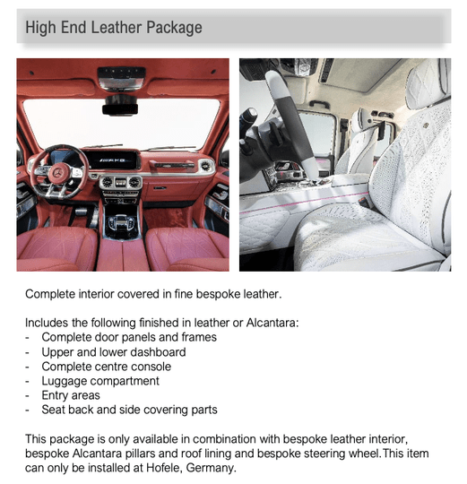 Hofele High End Leather Package Custom Colour G Class (W463a) [PRO000887]