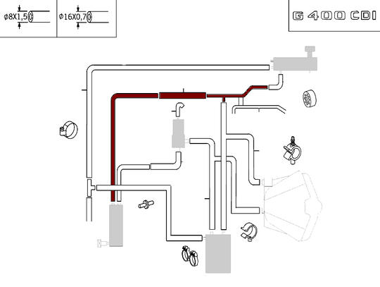 Mercedes-Benz Hose Between Piping And Low Temperature Cooler At Top [PRO000711]