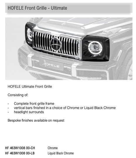 Hofele Front Grille – Ultimate Chrome G Class (W463a) [PRO000865]