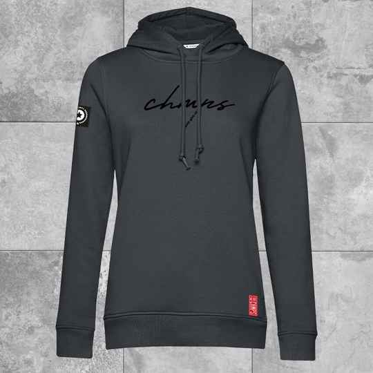 Never give up Dames Hoodie Charcoal