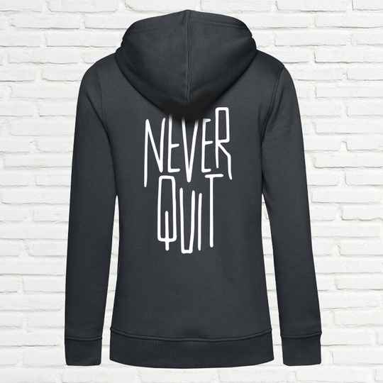Never Quit Slim Dames Hoodie Charcoal