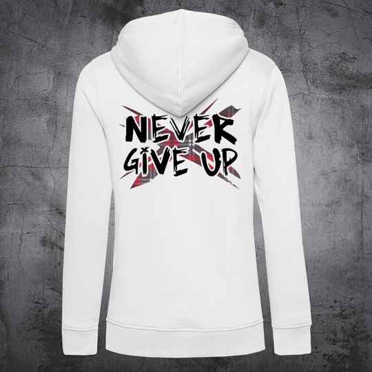 Never Give Up TartanX Dames Hoodie White