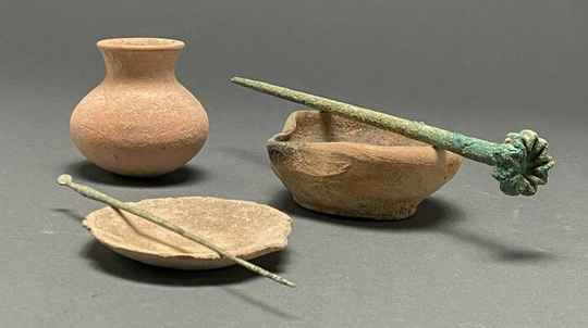 Ancient Roman Medical Set Terracotta Containers and Bronze Tools
