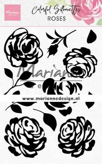 CS1046 colorful silhouettes - roses