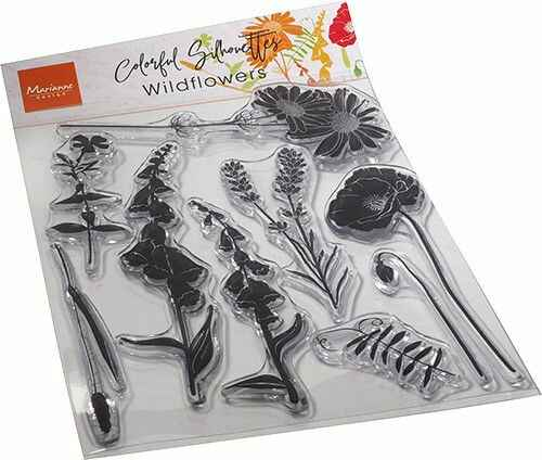 CS1084 colorful silhouettes - wildflowers