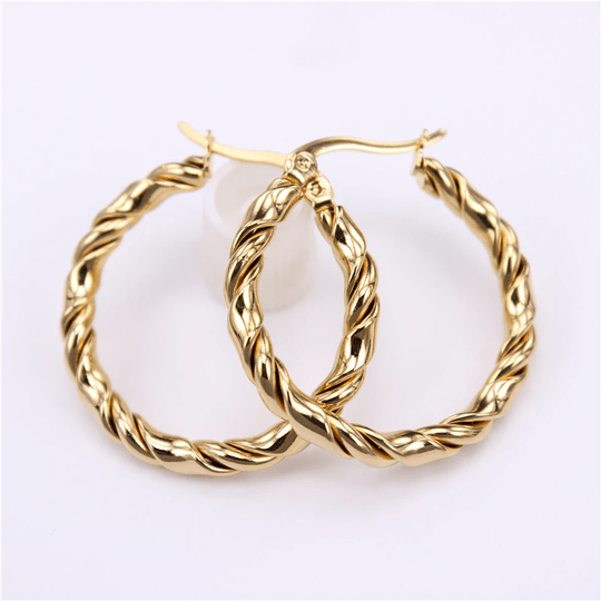 Hoop earrings | twisted big gold