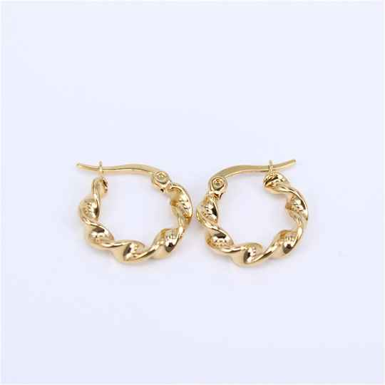 Hoop earrings | twisted gold small