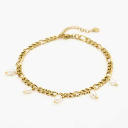 Chain anklet pearl | goud