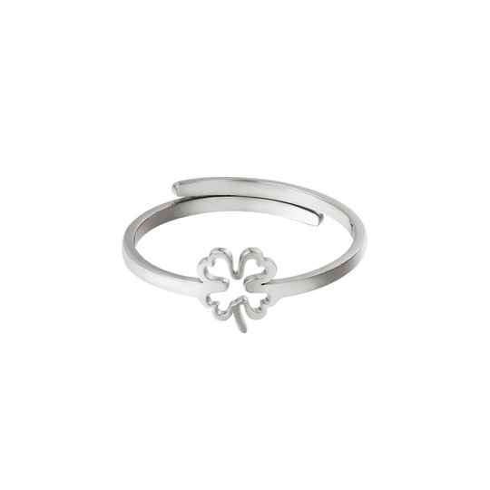 Ring lined clover | zilver