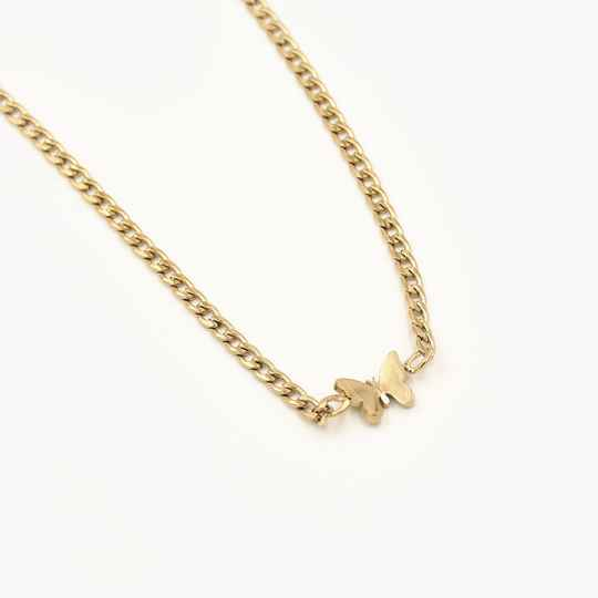 Chain necklace butterfly | goud