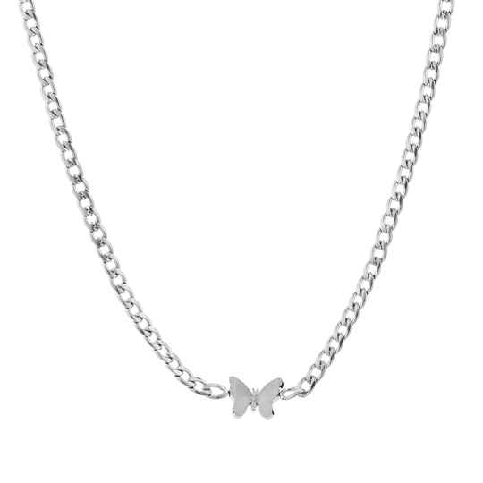 Chain necklace butterfly | zilver