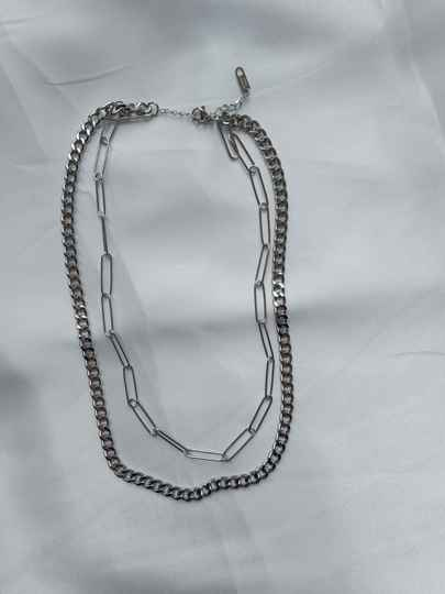 Layered chain necklace | zilver