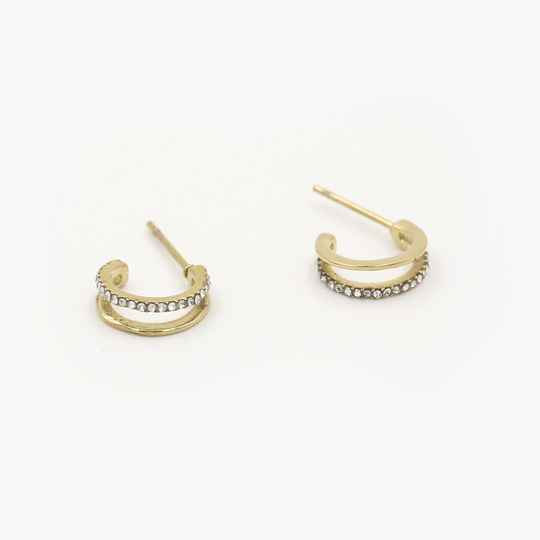 Double earrings sparkle | goud