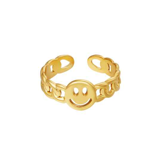 Chain ring smiley | goud