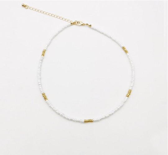 Kralenketting | white gold