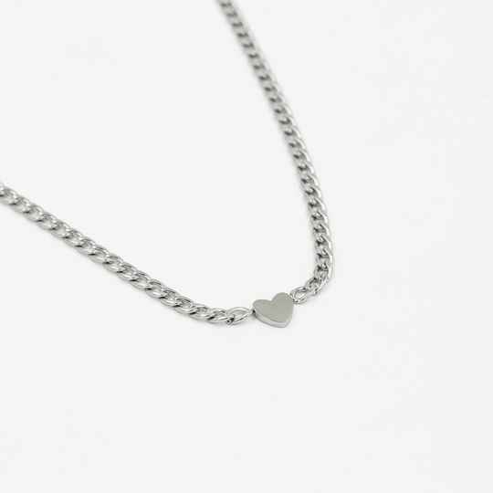 Ketting small chain hart | zilver