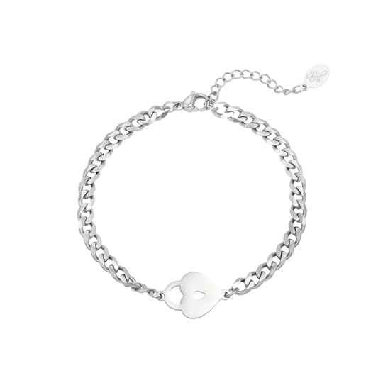 Chain bracelet locked heart | zilver