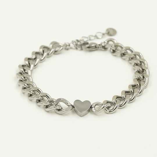 Armband chain hart | zilver