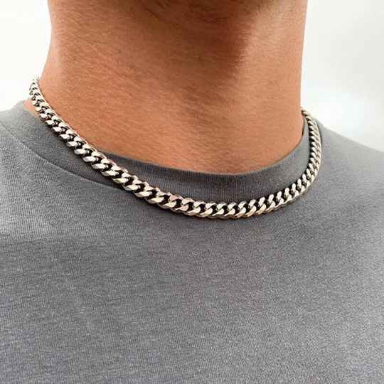 Chain necklace connected big/50 cm | zilver