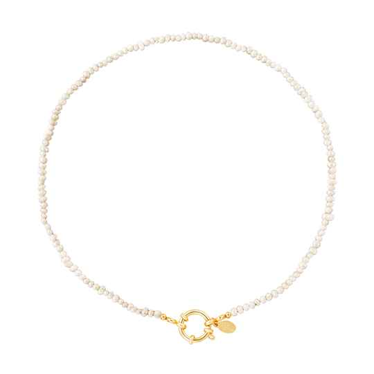 Necklace white beads round | goud