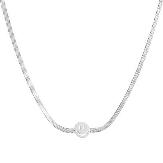 Necklace flat smiley | zilver