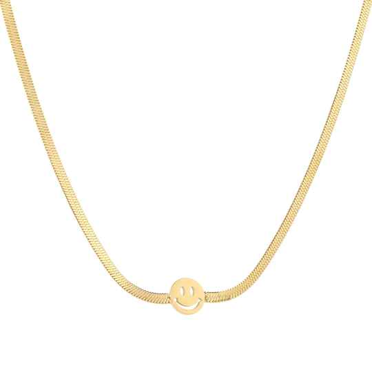 Necklace flat smiley | goud