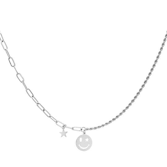 Necklace different chain smiley | zilver