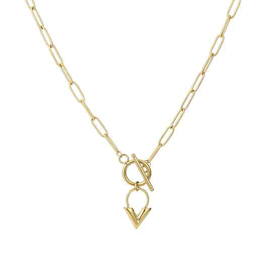Plain chain necklace round V | goud