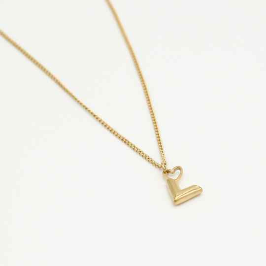 Small chain necklace V heart | goud
