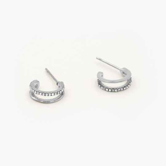Double earrings sparkle | zilver